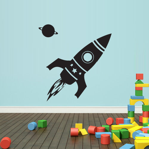 Wall Decal Vinyl Decal Sticker Nursery Kids Baby Cosmos Planet Rocket Aliens  z2368