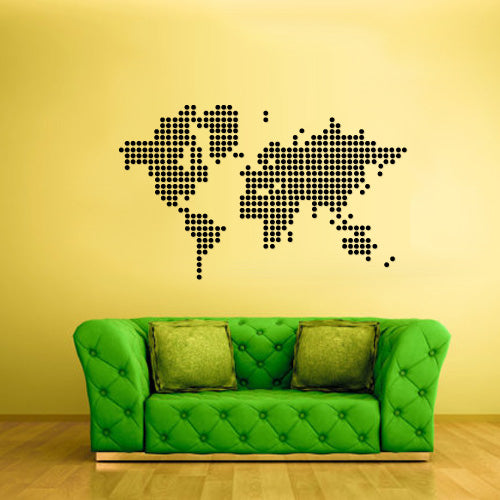 Wall Vinyl Decal Sticker Bedroom Decal World Map Dots  z2417