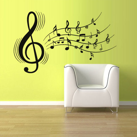 Wall Decal Vinyl Decal Sticker Decals Note Notes Wave Music Audio  z2445