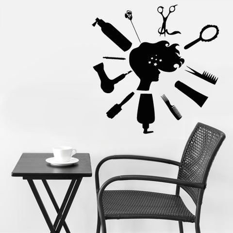 Wall Vinyl Decal Sticker Decal Haircut Salon Scissors Dryer Hair Fashion Girl  z2629