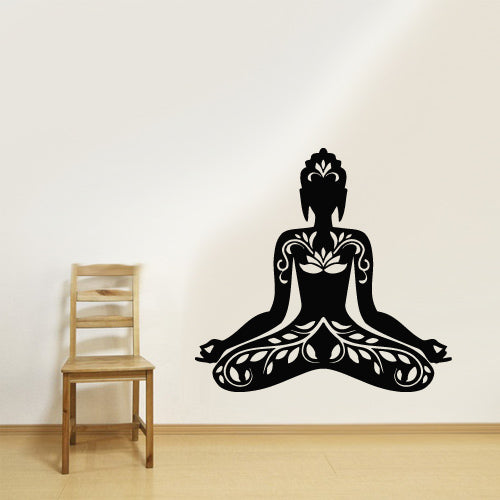 Wall Vinyl Decal Sticker Bedroom Decal Buddha God Yoga Lotos Indian  z2646
