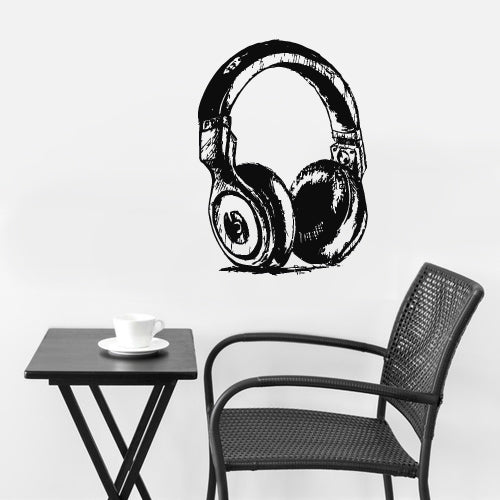Wall Decal Vinyl Decal Sticker Headphones Music Notes Beats Audio Drawing  z2656