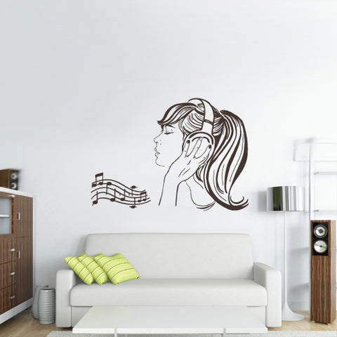 Wall Decal Vinyl Decal Sticker Headphones Music Notes Beats Audio Cord Relax  z2661