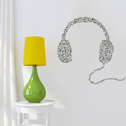 Wall Decal Vinyl Decal Sticker Headphones Music Notes Beats Audio Cord Relax  z2671