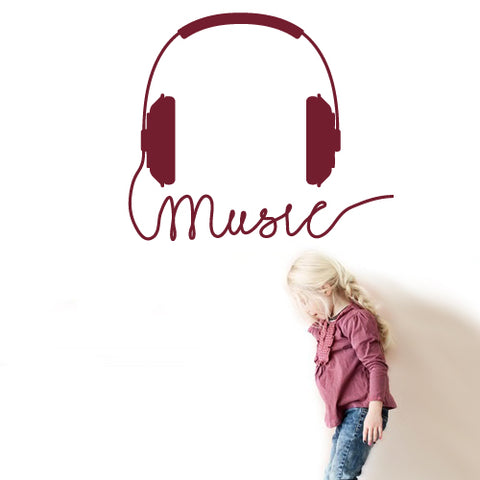 Wall Vinyl Decal Sticker Decals Audio Headphones Cord Music Sign Quote Notes ( z2672