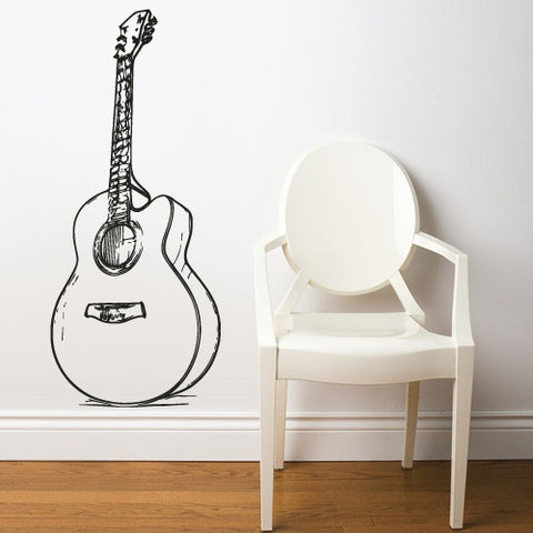 Wall Decal Vinyl Decal Sticker Decals Acoustic Guitar Music  z2675