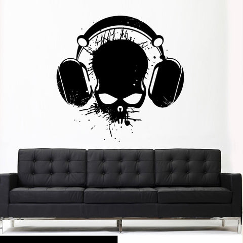 Wall Vinyl Decal Sticker Decal Art Audio Skull Headphones Cord Music Notes ( z2677