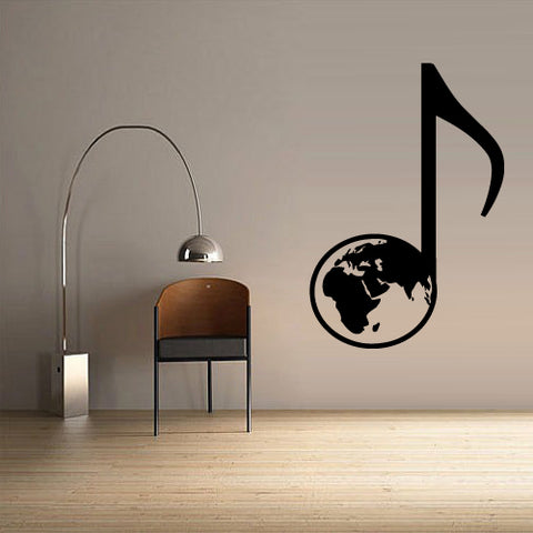Wall Decal Decal Sticker Beautiful Globe Note Music Bedroom  z2678