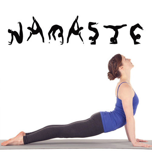 Wall Decal Vinyl Decal Sticker Namaste Words Quote Sign Letters Yoga Poses  z2695