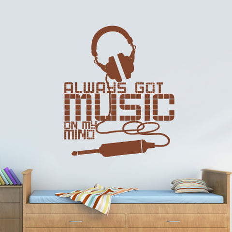 Wall Vinyl Decal Sticker Bedroom Decal Headphones Music on My Mind Quote Sign  z2720