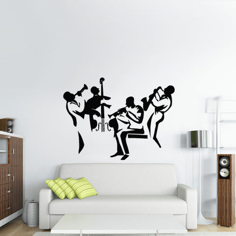 Wall Vinyl Decal Sticker Bedroom Decal Jazz Band Instruments Music  z2722