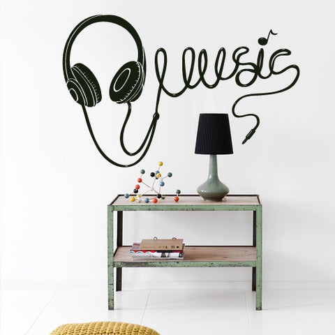 Wall Vinyl Decal Sticker Decals Audio Headphones Cord Music Sign Quote Notes ( z2727