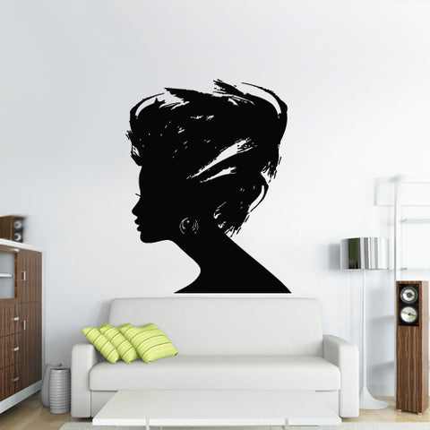 Wall Decal Sticker Girl Sexy Hairs Head Bedroom Decal Gift Salon  z2747