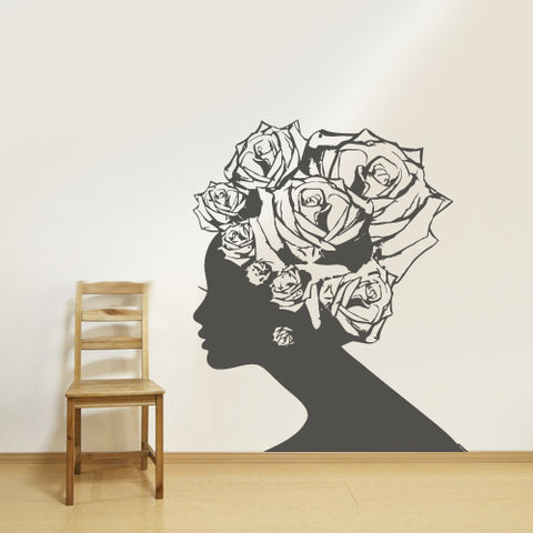 Wall Decal Sticker Girl Sexy Hairs Head Bedroom Roses Hair Decal Gift Salon  z2773