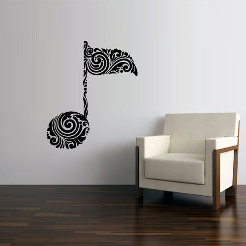 Wall Decal Decal Sticker Notes Decor Curly Pattern Art Note Music Bedroom  z2785