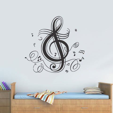 Wall Vinyl Decal Sticker Note Music Audio Headphones  z2968