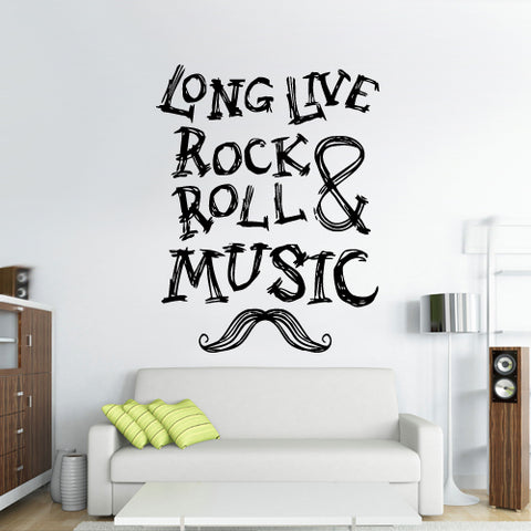 Wall Decal Vinyl Decal Sticker Sign Rock 'N Roll Long Live Music Moustache  z2993