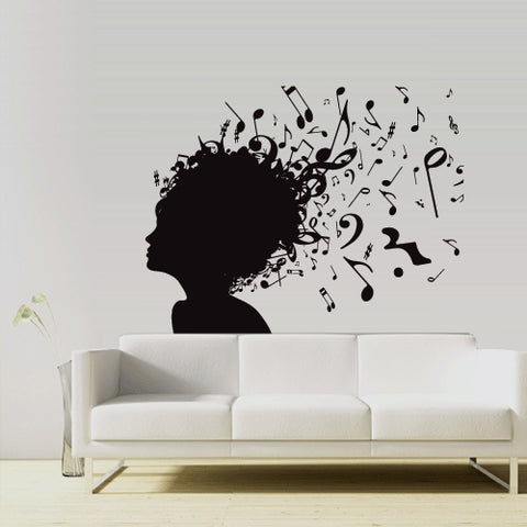 Wall Vinyl Decal Sticker Music Girl Notes Head Audio Mind Smart Composer  z3018