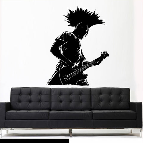 Wall Decal Vinyl Decal Sticker Electric Guitar Pank Musican Rock Music Notes  z3020