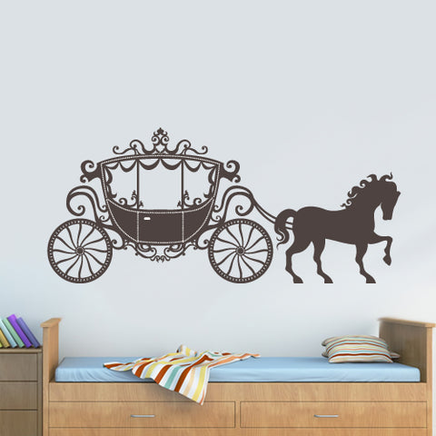 Wall Decal Vinyl Decal Sticker Decor Art Nursery Kids Baby Horse Princess Coach  z3032