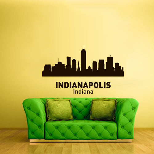 Wall Vinyl Decal Sticker Decal Sign Town City Skyline Indianapolis Indiana ( z3059