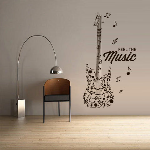 Wall Decal Vinyl Decal Sticker Electric Guitar Musican Rock Music Notes Music  z3071