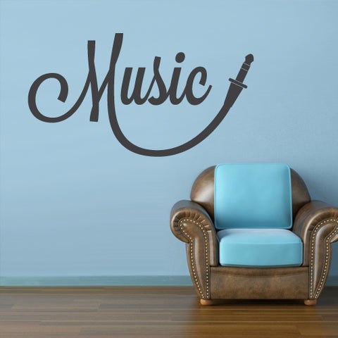 Wall Vinyl Decal Sticker Art Audio Headphones Cord Music Sign Quote Notes Note ( z3072