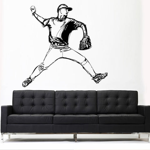 Wall Vinyl Decal Sticker Decals Decor Baseball Kids Dorm Bedroom Pitcher Sport  z3110