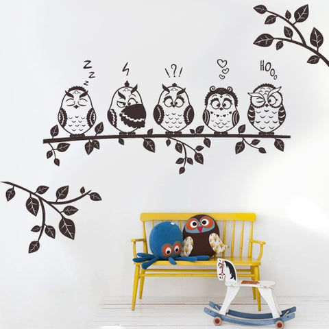 Wall Decal Decal Sticker Beautiful Cute Owl Birds Branch Forest Animals  z3111