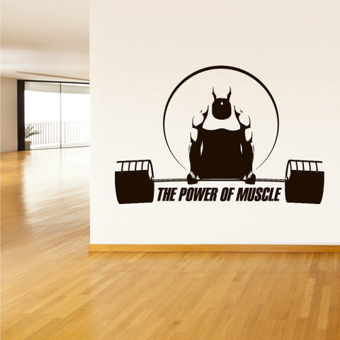 Wall Decal Vinyl Decal Sticker Gym Gymnastics Muscle Sport Man Rod Barbell  z3115