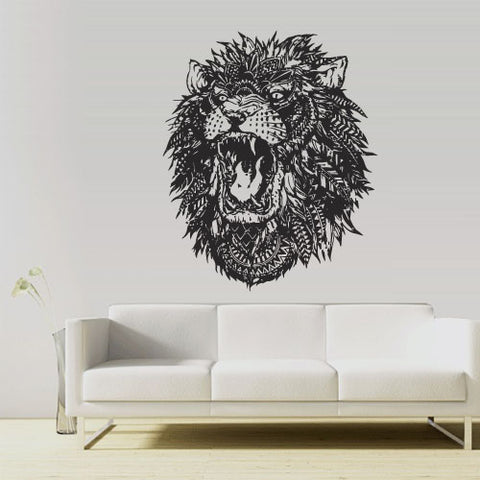 Wall Vinyl Decal Sticker Tiger Leopard Lion Animal Wild Cat Head Feathers  z3122