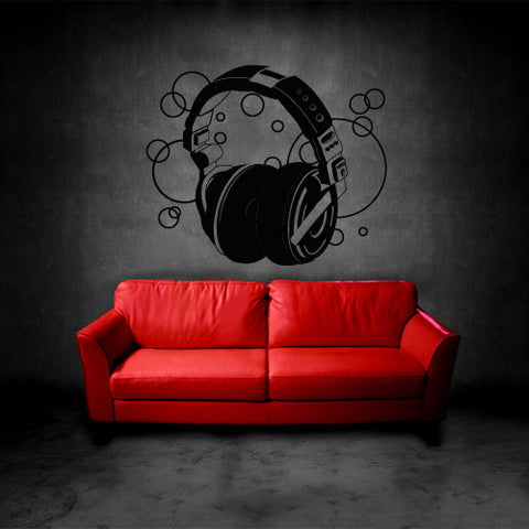 Wall Decal Vinyl Decal Sticker Decals Headphones Music Notes Audio  z3145
