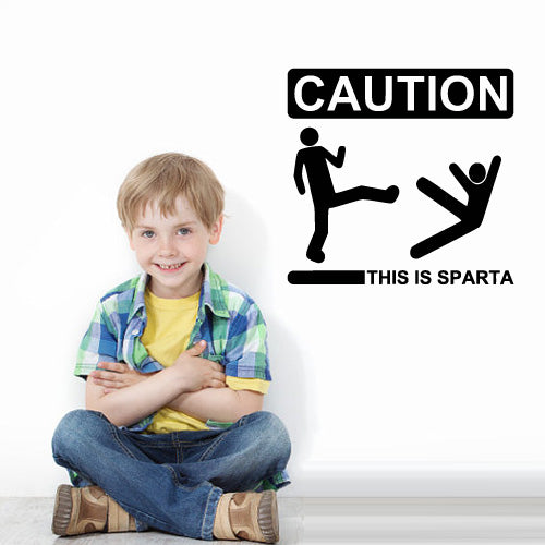 Wall Vinyl Decal Sticker Bedroom Decal Words Sign Quote Caution This Is Sparta  z3150
