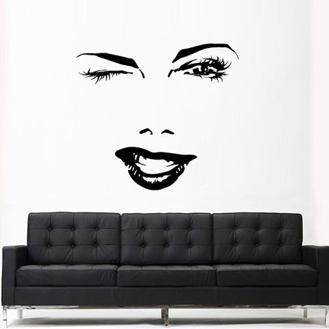 Wall Vinyl Decal Sticker Bedroom Decal Wall Decal Girl Face Lips Eyes Fashion  z3152