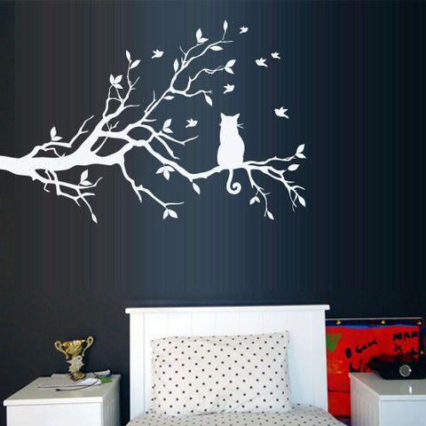 Wall Decal Vinyl Decal Sticker Tree Branch Cat Love Hearts Bedroom Interior  z3156