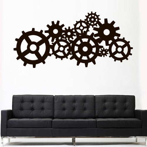 Wall Decal Vinyl Decal Sticker Steampunk Gears Cogs Geometric Machine Mechanism  z3163