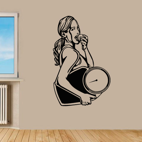 Wall Decal Vinyl Decal Sticker Gym Gymnastics Fitness Sport Woman Rod Barbell  z3168