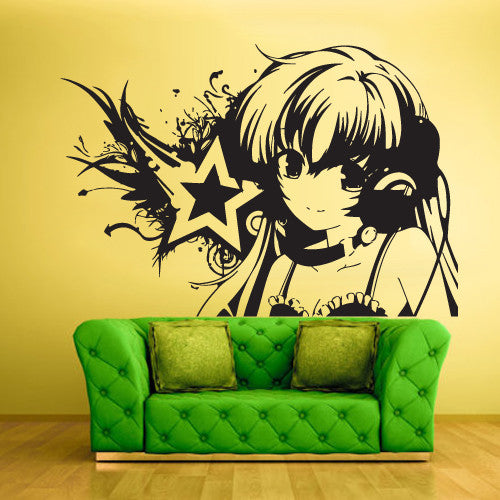 Wall Vinyl Decal Sticker Bedroom Decal Decal Anime Girl Star Music  z427