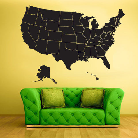 Wall Vinyl Decal Sticker Bedroom Decal Map  z444