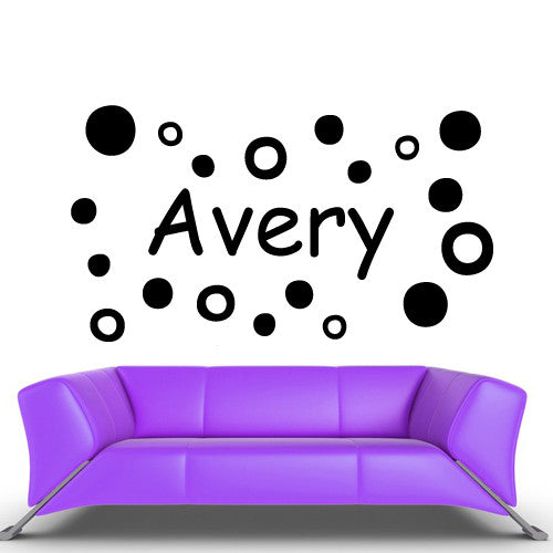 Wall Vinyl Decal Sticker Bedroom Decal Custom Name Cartoon Circles Baby Kids  z474