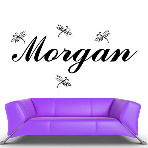 Wall Vinyl Decal Sticker Bedroom Decal Custom Name Cartoon Dragonfly Baby Kids z475