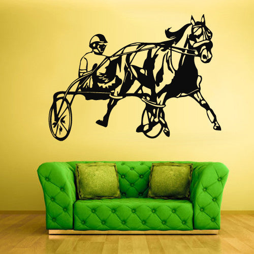 Wall Vinyl Decal Sticker Bedroom Decal Horse with Man Horserace  z481