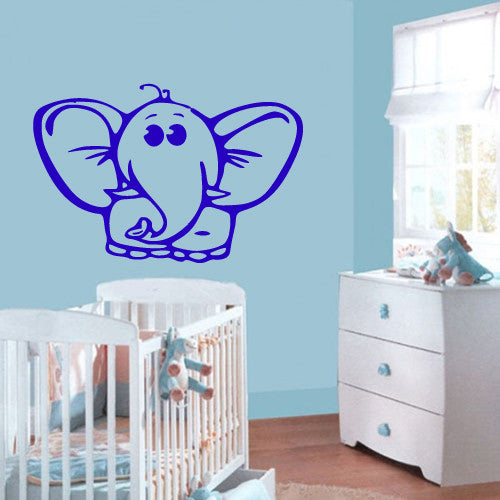 Wall Vinyl Decal Sticker Bedroom Cartoon Nursery Animals Elephant Kids Baby  z487