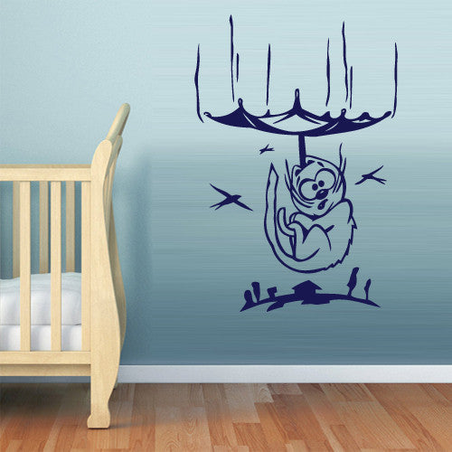 Wall Vinyl Decal Sticker Bedroom Cartoon Cat Umbrella Funny Kids Baby Nursery  z490