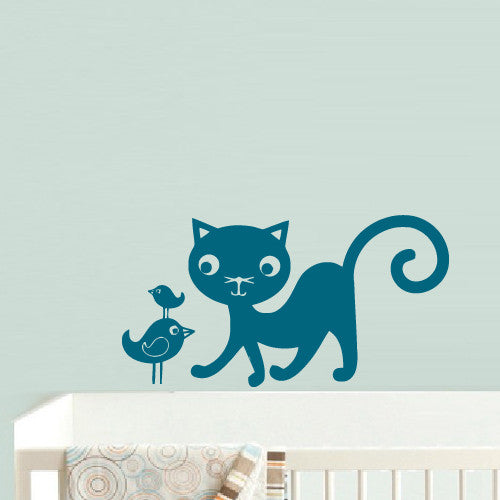 Wall Vinyl Decal Sticker Bedroom Cartoon Cat Bird Funny Kids Baby Nursery  z491