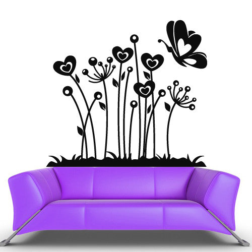 Wall Vinyl Decal Sticker Bedroom Decal Modern Decal Fashion Flowers Butterfly z506