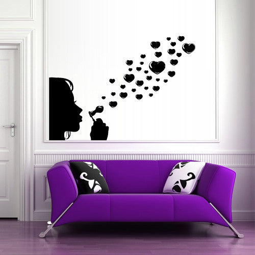 Wall Vinyl Decal Sticker Bedroom Decal Girl Soap Bubbles Hearts  z511