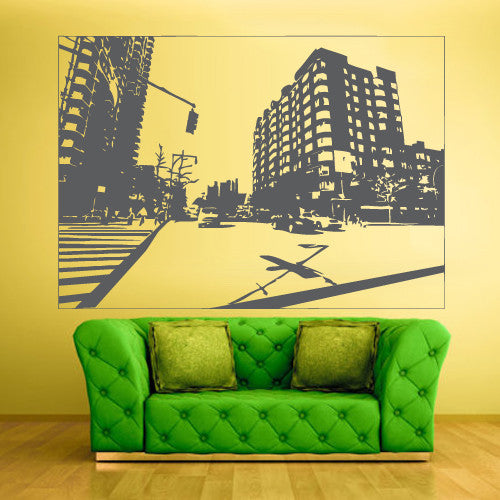 Wall Vinyl Decal Sticker Bedroom Decal City Town Picture Roadway  z512