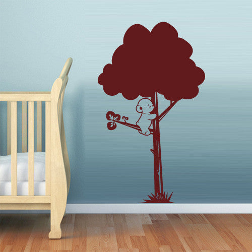 Wall Vinyl Decal Sticker Bedroom Decal Tree with Bear Nursery Kids Baby  z523