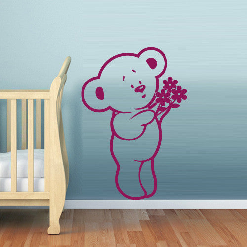 Wall Vinyl Decal Sticker Bedroom Decal Bear with Flowers Nursery Kids Baby  z524